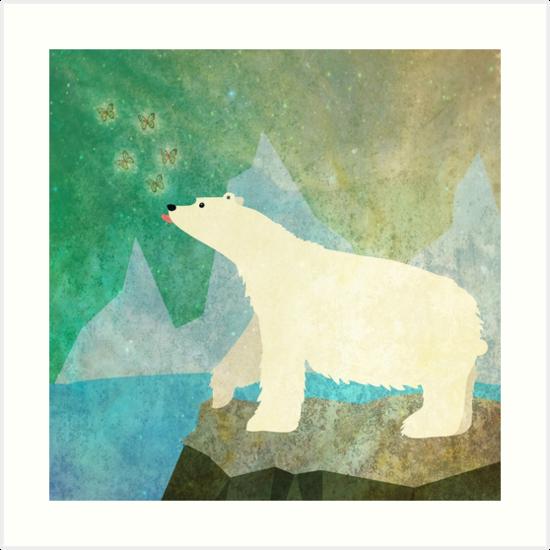 Playful Polar Bear in the Northern Lights by nannapaskesen