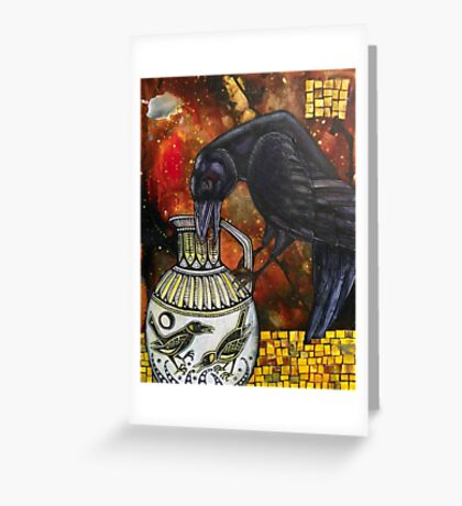 Crow and Pitcher Greeting Card