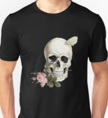 With a Rose between my Teeth (on black) Unisex T-Shirt