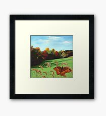 Rolling Hills - fall landscape oil painting Framed Print