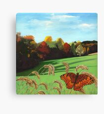 Rolling Hills - fall landscape oil painting Canvas Print