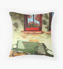 Empty Bench - oil painting Throw Pillow