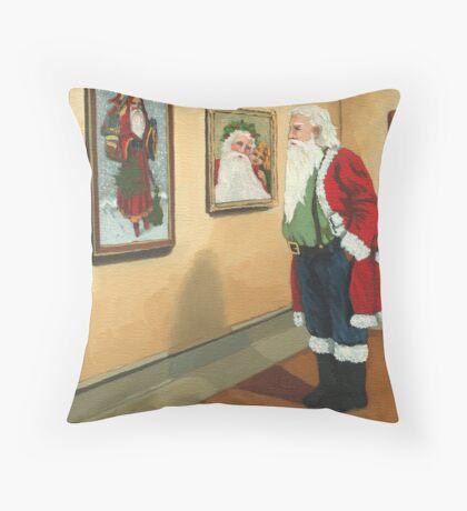 Museum Visitor - Santa Christmas Throw Pillow