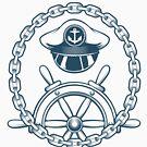Nautical Emblem mit Captain Hat und Navigationsrad. von devaleta