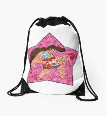 Stained Glass Steg on Pink Drawstring Bag