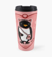 Pink Kitty Penguin Travel Mug