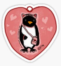 Pink Kitty Penguin Glossy Sticker