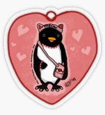 Pink Kitty Penguin Transparent Sticker