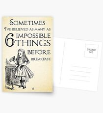Alice in Wonderland Quote - Six Impossible Things - Lewis Carroll - 0111 Postcards