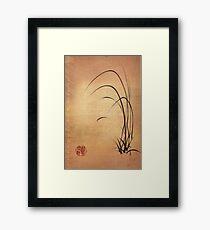 Lyrical Dreams - original sumie ink brush pen Zen drawing by Rebecca Rees Framed Print