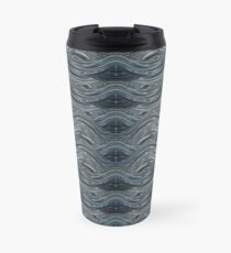 CRazy Oil PaintinG Blue/Grey Wavey Travel Mug