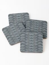 CRazy Oil PaintinG Blue/Grey Wavey Coasters