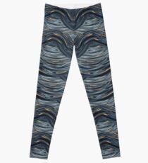 CRazy Oil PaintinG Blue/Grey Wavey Leggings