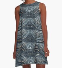 CRazy Oil PaintinG Blue/Grey Wavey A-Line Dress