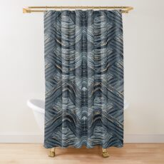 CRazy Oil PaintinG Blue/Grey Wavey Shower Curtain
