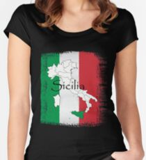 Sicilian Pride Design Fitted Scoop T-Shirt