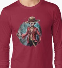 The King of Pirates a Tra-Digital Portrait of Luffy Long Sleeve T-Shirt