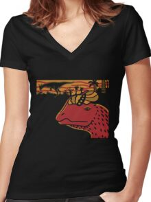 Dilophosaurus Duo - Orange and Red Women's Fitted V-Neck T-Shirt