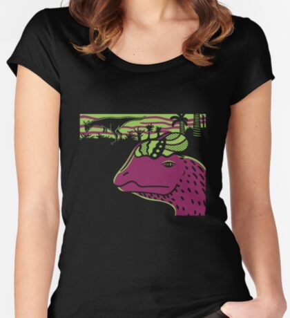 Dilophosaurus Duo - Green and Purple Women's Fitted Scoop T-Shirt