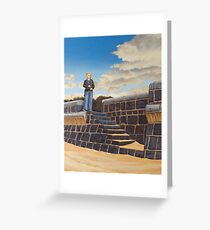 Untitled (girl on sea-wall) Oil on Linen, 51x40cm. Greeting Card
