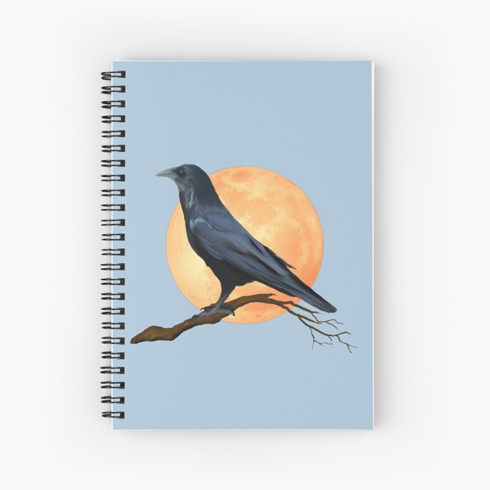 Full Moon Raven  Spiral Notebook