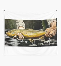 North Platte Brown - Trout Painting Wall Tapestry