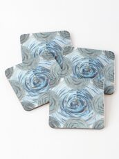 CRazy Oil PaintinG Blue/Grey Glass Coasters