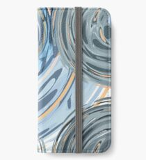 CRazy Oil PaintinG Blue/Grey Glass iPhone Wallet/Case/Skin