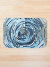 CRazy Oil PaintinG Blue/Grey Glass Bath Mat
