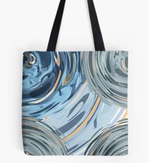 CRazy Oil PaintinG Blue/Grey Glass Tote Bag
