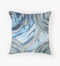 CRazy Oil PaintinG Blue/Grey Glass Throw Pillow