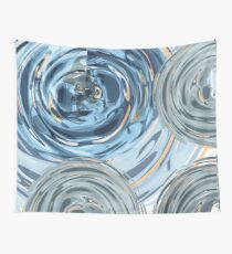 CRazy Oil PaintinG Blue/Grey Glass Wall Tapestry