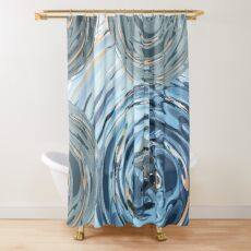 CRazy Oil PaintinG Blue/Grey Glass Shower Curtain