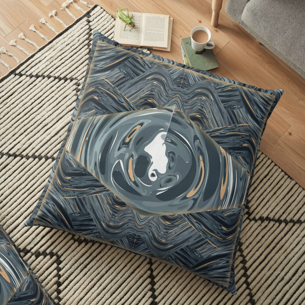 CRazy Oil PaintinG Blue/Grey Eye Floor Pillow
