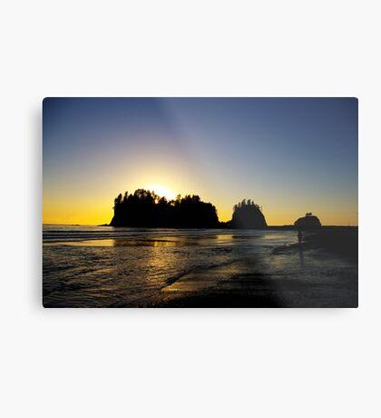 sun setting behind james island, washington, usa Metal Print
