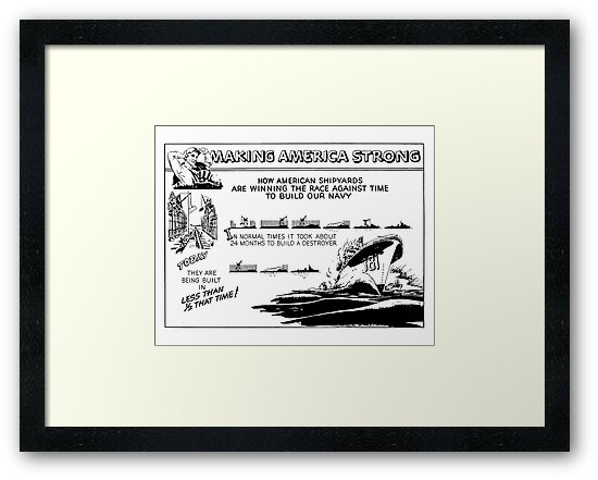 Making America Strong Cartoon -- WWII by warishellstore