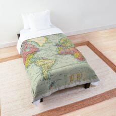 World Map Printable Comforters   Redbubble