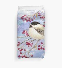 Watercolor Chickadee Bird Winter Berries Duvet Cover