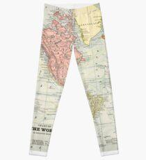 Vintage Old Historical World Map Leggings