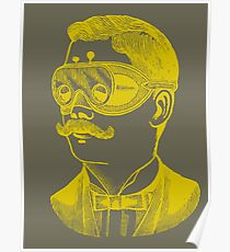 Vintage man in goggles Poster