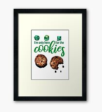 I'm only here for the cookies and dice - green Framed Print