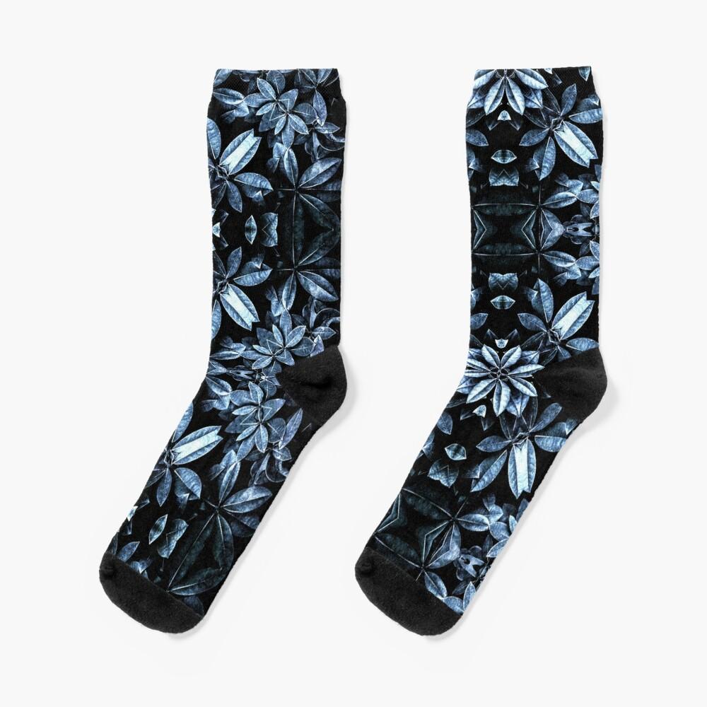 Metallic Leaves Mandala Socks