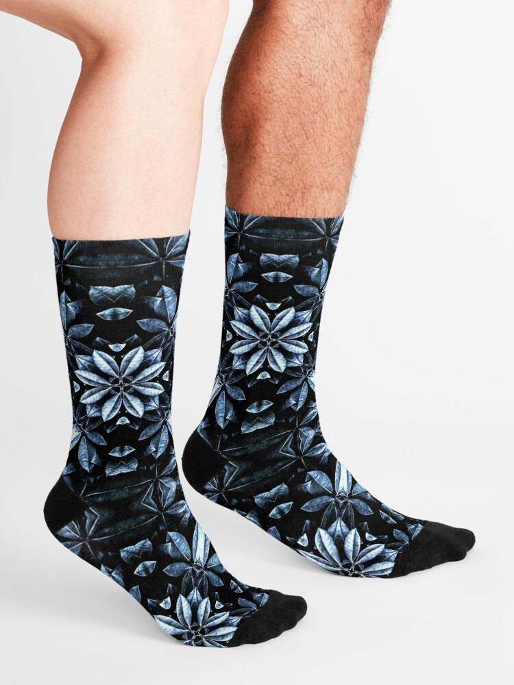 Alternate view of Metallic Leaves Mandala Socks