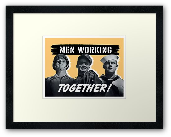 Men Working Together -- World War Two by warishellstore