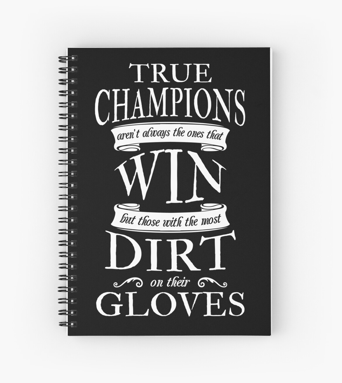 "Soccer Quote Soccer Goalie True Champions Quote"" Spiral Notebooks."
