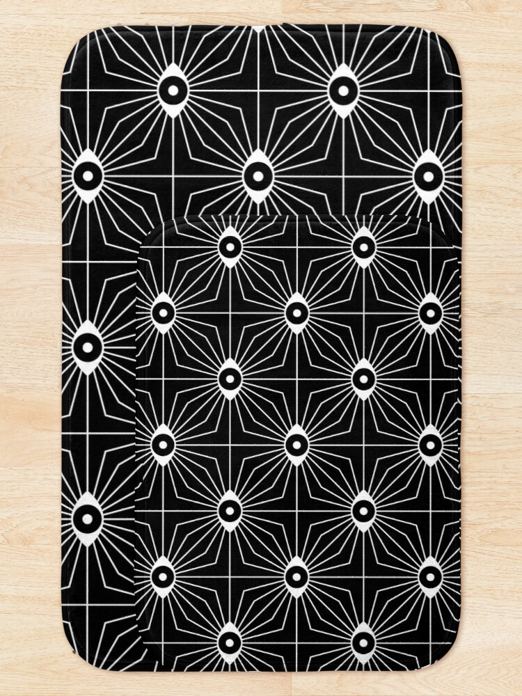 Alternate view of Electric Eyes - Black and White Bath Mat