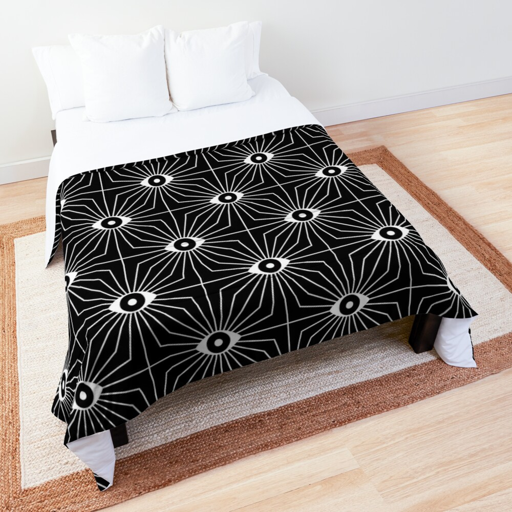 Electric Eyes - Black and White Comforter