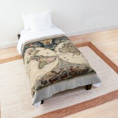 Vintage World Map Comforters   Redbubble