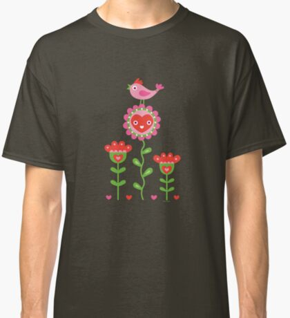 Happy - flowers bird hearts Classic T-Shirt