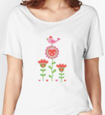 Happy - flowers bird hearts Women's Relaxed Fit T-Shirt
